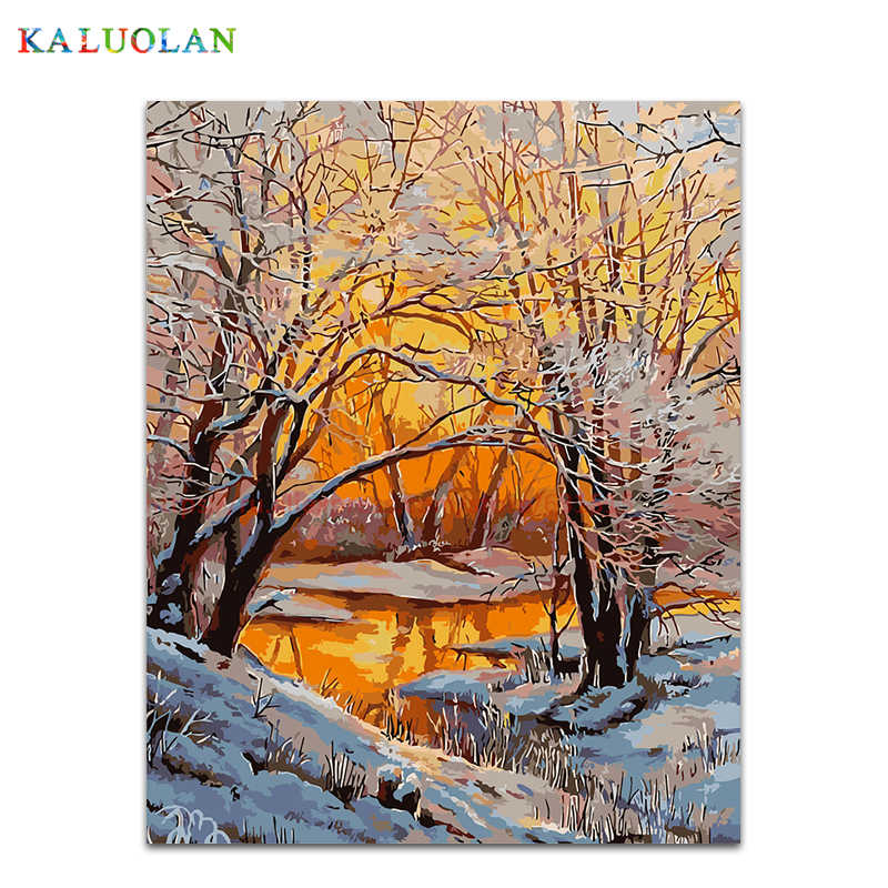 DIY Oil Painting By Numbers Paint On Canvas Modern Wall Pictures For Living Room Wall Art Home Decor 1PC Sunset Under The Woods