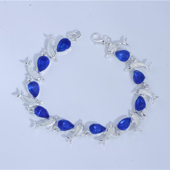 Charm Summer Dolphin Turtle Blue Opal Silver Color Hand Chain Beach Jewelry Bracelet 5