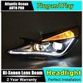 AUTO.PRO For Hyundai sonata headlights 2011-2014 sonata 8 led Q5 bi xenon lens+LED light guide DRL+H7 xenon HID Kit car styling