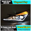 AUTO. PRO Para Hyundai sonata faróis 2011-2014 sonata 8 levou Q5 bi xenon lente + guia de luz LED DRL + H7 xenon HID Kit car styling