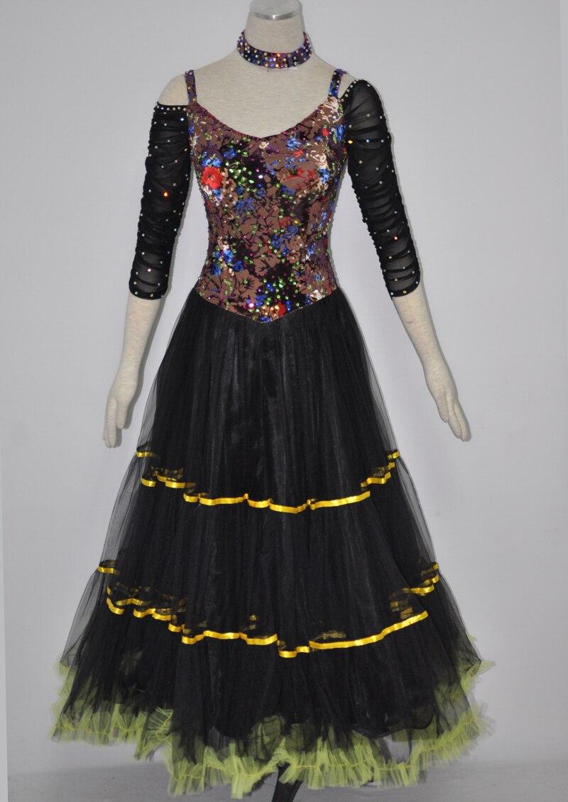 Standard Ballroom Waltz Dress Elegant Adult Tango Flamenco Dancing Costume Womens Competition Ballroom Dance Dresses