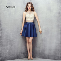 Setwell Two Pieces Mini Short Homecoming Dresses Crystal Beading Illusion Backless Homecoming Dress Royal Blue Prom Dress