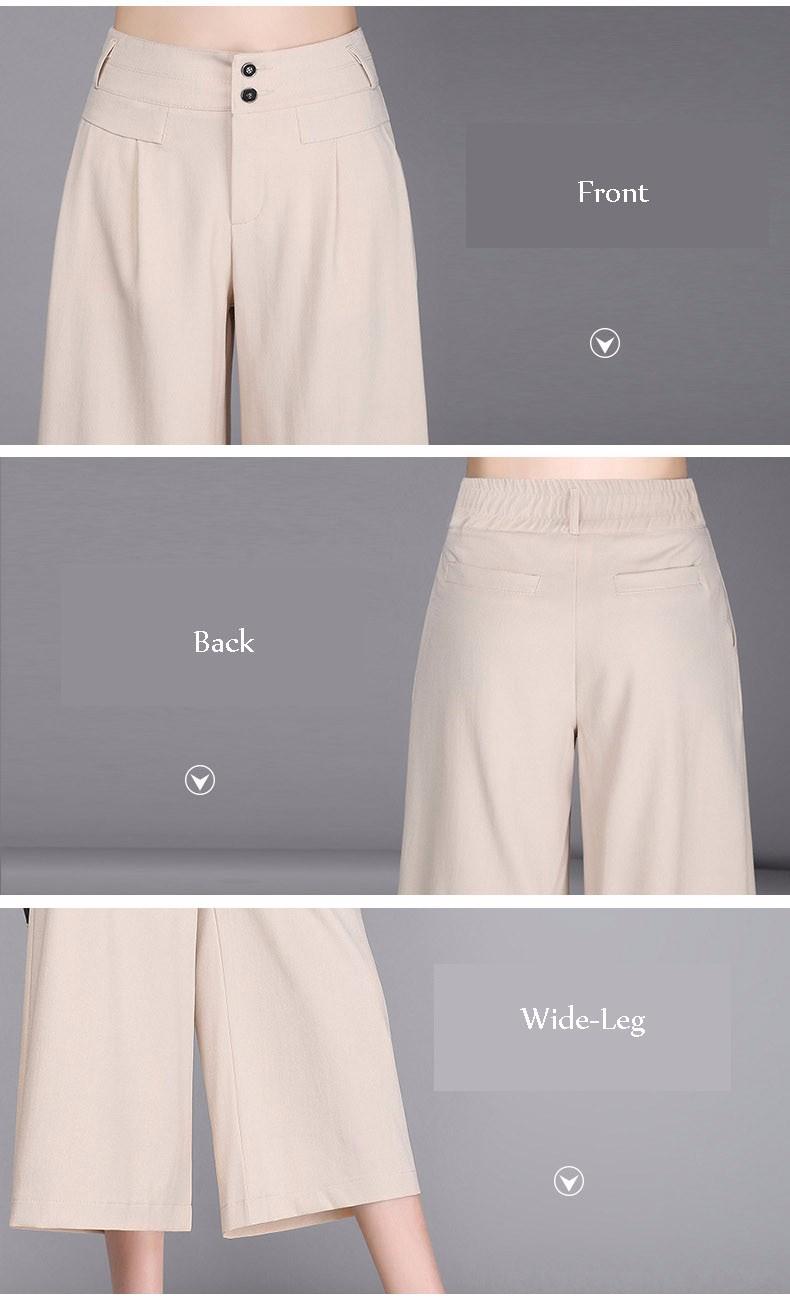 Women OL Wide Leg Pants 2017 Summer Elegant Linen Pants Women Black/White/Beige 3/4 Trousers Pantalon Femme Plus Size S-3XL A318 6
