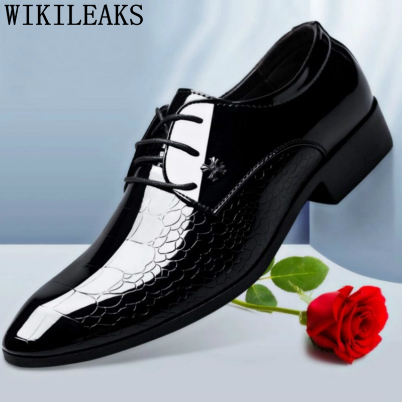 Patent Leather black formal shoes men classic oxford shoes for men italian brand office mens dress shoes shoes zapatos de hombre hot sale luxury brand men classic oxfords italian mens leather dress shoes new men formal shoes black white patch flowers 39 46