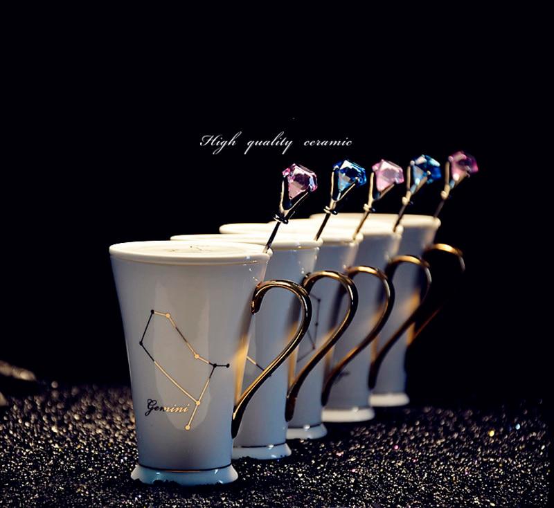 Twelve Constellation Ceramic Gift mug with Spoon Cover Gold plated Coffee mug Platinum and Goldbone Chinese