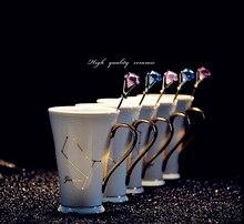 Zwölf Konstellation Keramik Geschenk becher, mit Löffel/Abdeckung vergoldete kaffeetasse, platin und Goldbone Chinesischen Porcel becher