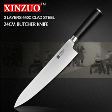 XINZUO 9.5 inch butcher knife 3-layer 440C clad chef knife kitchen knives  G10 handle Japanese cleaver knife free shipping