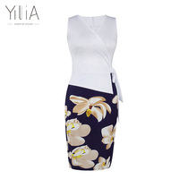 Yilia Dress Women 2017 Elegant Summer Floral Print Party Office Bodycon Pencil Dresses Sleeveless Bow Knee