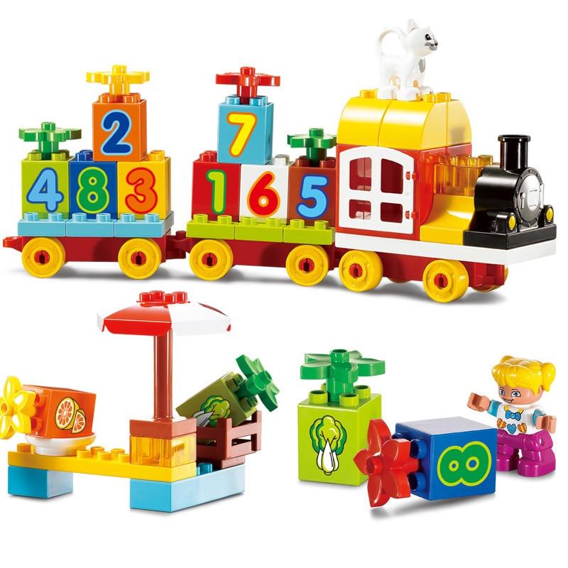 Bricolage grande taille Compatible avec Legoing Duploe Train blocs de construction connaissance numéro Locomotive jouets pour enfants cadeaux de noël