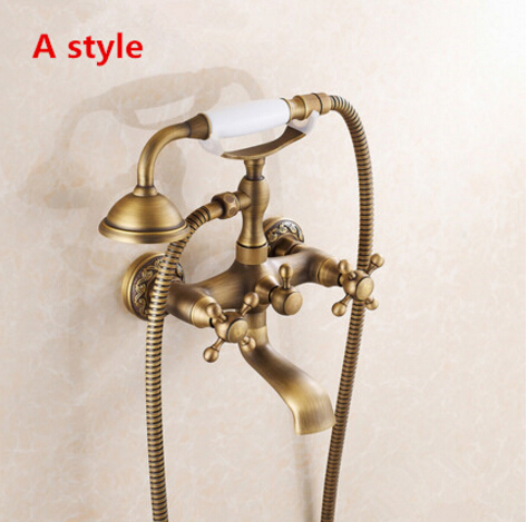 High quality Luxury Antique Brass Rainfall Shower Set Faucet + Tub Mixer Tap + Handheld Shower Wall Mounted Bathtub Faucet set luxury wall mount telephone style bathtub shower faucet with handheld shower tub mixer tap