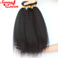 Kinky Straight Hair Weave Bundles 100% Brazilian Human Hair Extensions 3pcs Hair Bundles Sunny Queen Remy Hair Products