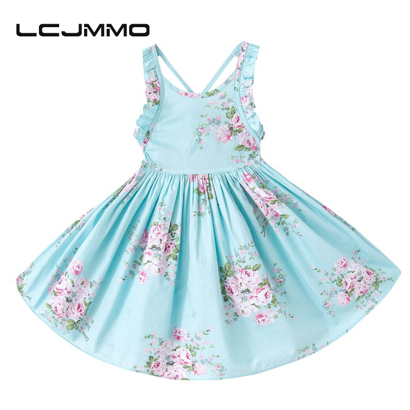 LCJMMO Baby Girls Dress Summer 2017 Ropa para niños Vestido sin mangas de algodón Girl for Party Wedding vintage Floral Girls Dresses