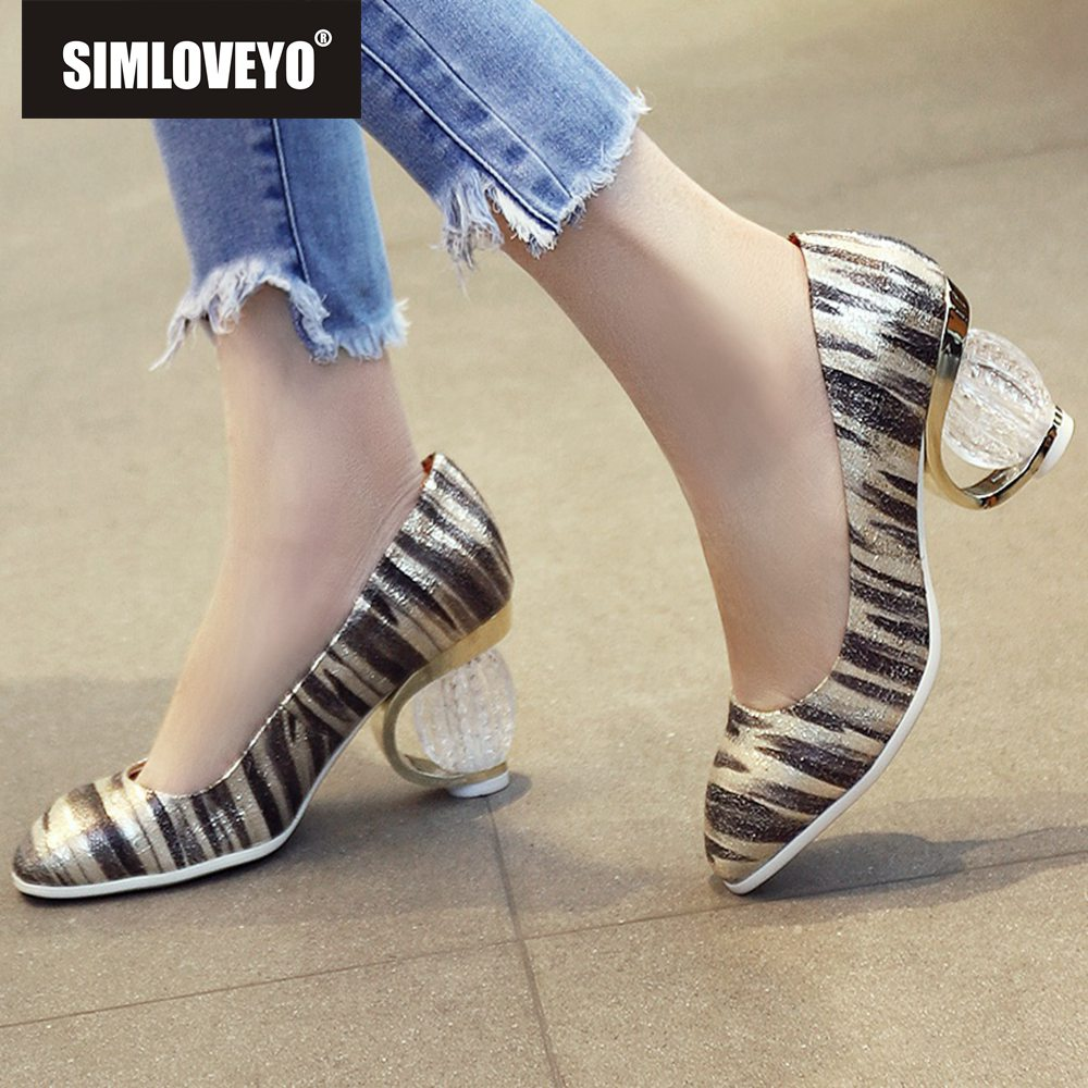 SIMLOVEYO 2019 designer Shoes woman High heels Women s pumps Shallow Stripe Round toe Gold Silver