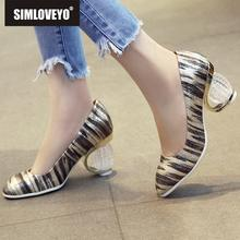 38bb6a6a8f SIMLOVEYO 2019 designer Shoes woman High heels Women's pumps Shallow Stripe Round  toe Gold Silver round