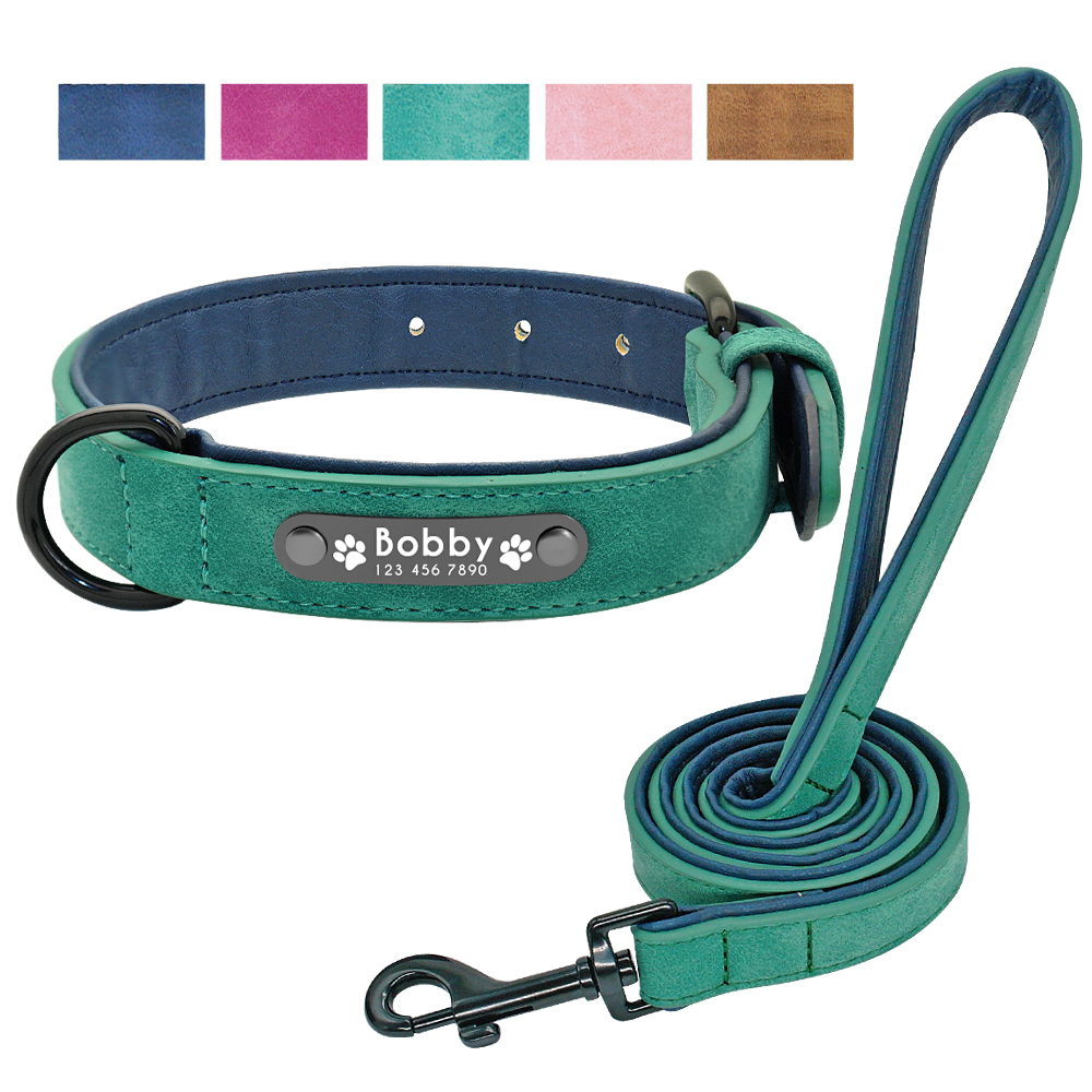 Personalized Dog Collar Leash Leather Padded Engraved Dogs Collars Lead Rope Set