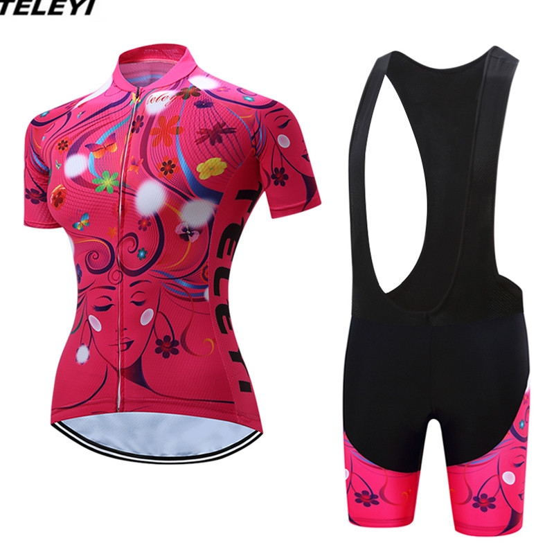 Red Sportswear Bike Cycling jersey Bib Shorts Sets Women Bike clothing Suit Maillot Ropa Ciclismo MTB bicycle Top Bottom Flower