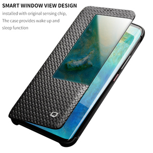 Image 4 - QIALINO Fashion Genuine Leather Flip Case for Huawei Mate 20 Pro Stylish Business Ultra Slim Cover with Smart View for Mate 20