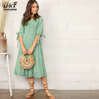 Dotfashion Knotted Cuff Gingham Fit & Flare Dress Women Clothes 2019 Preppy Half Sleeve Summer A Line Dresses Green Midi Dress