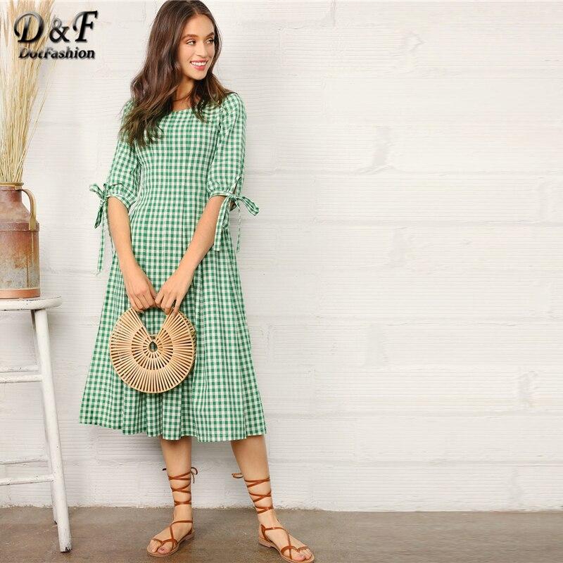 Dotfashion manchette nouée vichy Fit & Flare robe femmes vêtements 2019 Preppy demi manches été une ligne robes vert robe mi-longue