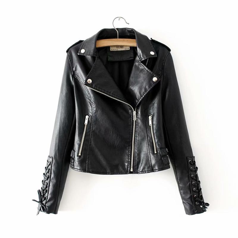 2019 Autumn New Womens Long Sleeve Frenulum Fashion Locomotive   Leather   Jackets Females Lapel Short Slim Jacket Coats