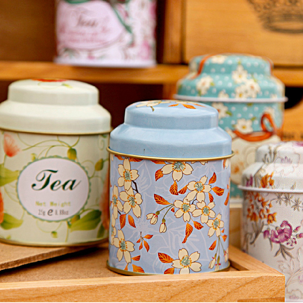 Flower Design Metal Sugar Coffee Tea Tin Jar Container Candy Sealed Cans Box ~!