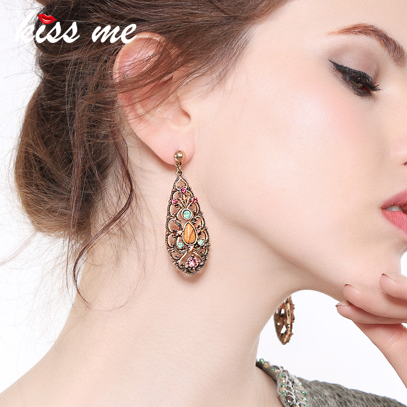 KISS ME New Synthetic Stone Crystal Hollowed Water Drop Big Earrings for Women 2018 Alloy Vintage Earrings Fashion Jewelry