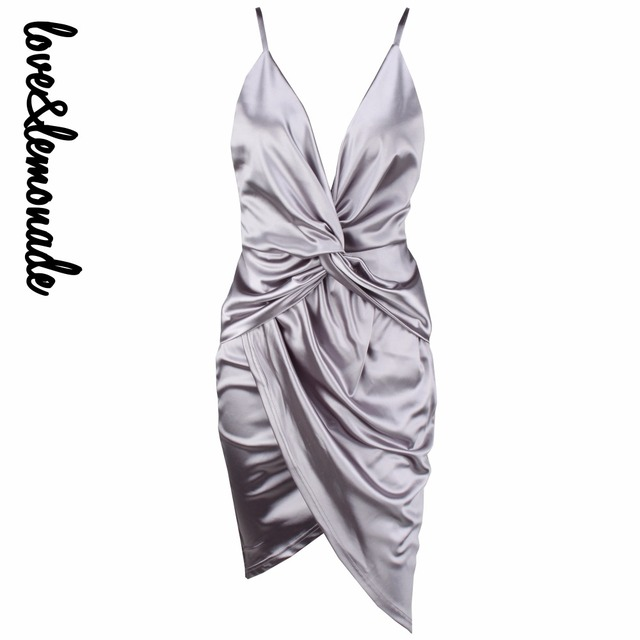 Любовь и Лимонад Сексуальная Серый Глубокий V-образный Вырез Крест Пластинчатые Dress ТБ 10072