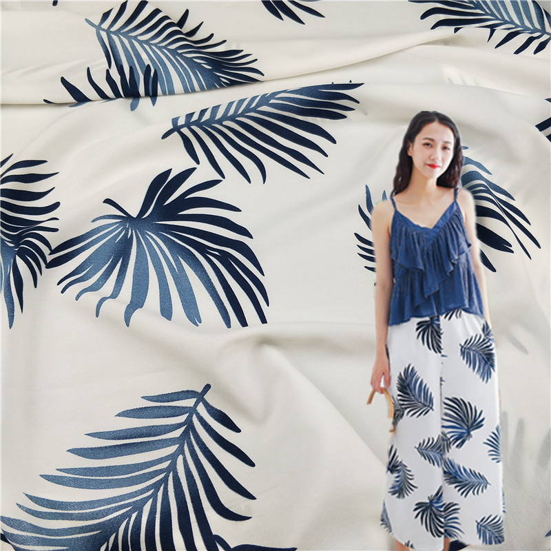 Arts,crafts & Sewing Audacious 2019 Impermeable Coniferous Banana Leaf Printing Soft For Italian Yarn Yao Cloth Dress Broad-legged Pants And Shorts Fabrics