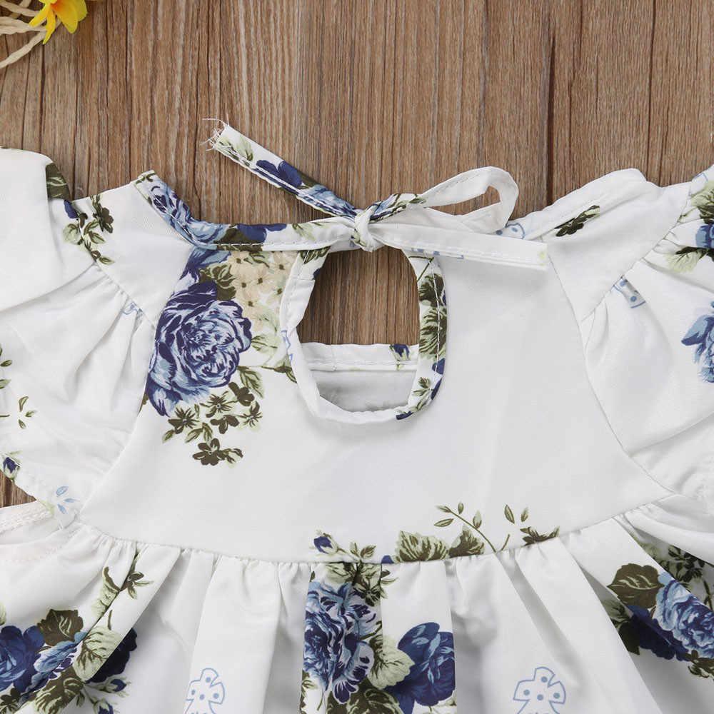 יילוד תינוקת בגדים פרחוני חולצה שמלת חולצות מכנסיים קצרים מכנסיים בגדי תלבושת 2pcs סט roupa infantil ropa bebe * N