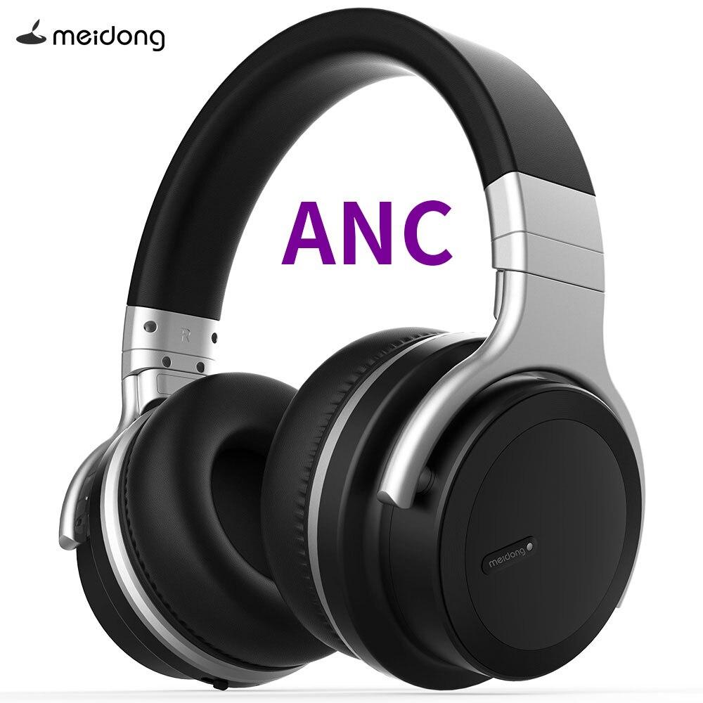 NOUVEAU Meidong MDPRO-E7 WirelessHeadphones Bluetooth Active Noise Cancelling Casque avec microphone pour téléphone sans fil Casque