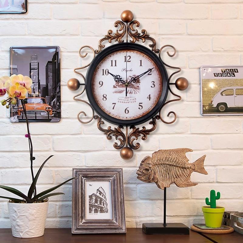 Large Retro Digital Metal Wall Clock Home Decor Iron Wall