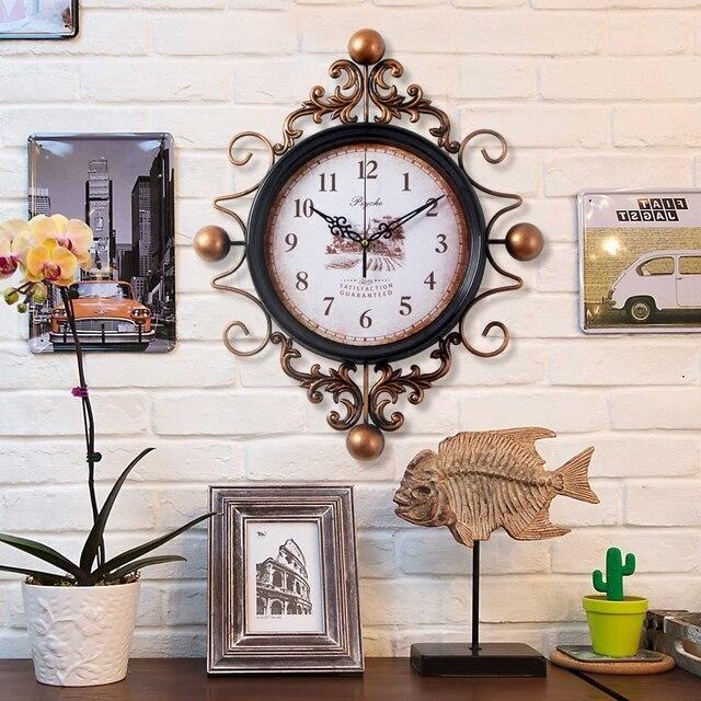 Large Retro Digital Metal Wall Clock Home Decor Iron Antique Style Hanging