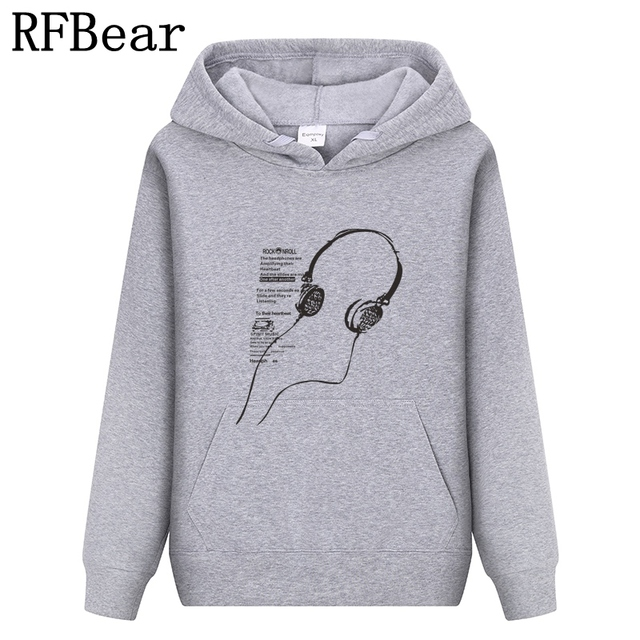 RFBear Brand 2017 men cotton Hoodies sweatshirt Solid color Print trend comfortable pullover coat  warm Clothes Autumn and Winte
