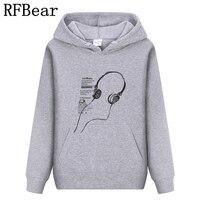 RFBear Brand 2017 Men Cotton Hoodies Sweatshirt Solid Color Print Trend Comfortable Pullover Coat Warm Clothes