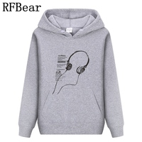 RFBear Brand 2017 Men Cotton Hoodies Sweatshirt Solid Color Print Trend Comfortable Pullover Coat Warm Clothes