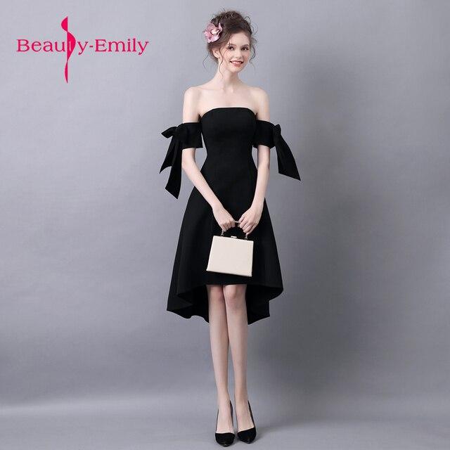 53f8cc9d2e5 Красота Эмили классические черные Выпускной фантазии лук рукавом Формальное вечернее  платье короткие 2018 Homecoming платья Vestido