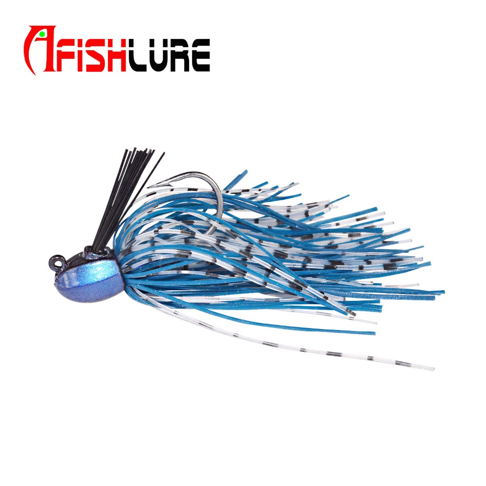 16g Jig head with fishing lure skirt lead jig lead fish jigging lure metal lure Rubber Jig Lures Silicone Skirts Bait Blue nils master baby shad 5cm vertical jigging ice fishing lures