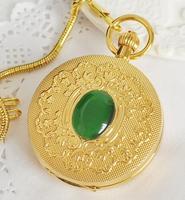 Fase Lunar de Cobre de Oro de la vendimia Números Romanos Reloj de Bolsillo Mecánico Caso Doble Bobina de la Mano Mens Señora Reloj de BOLSILLO PJX1032