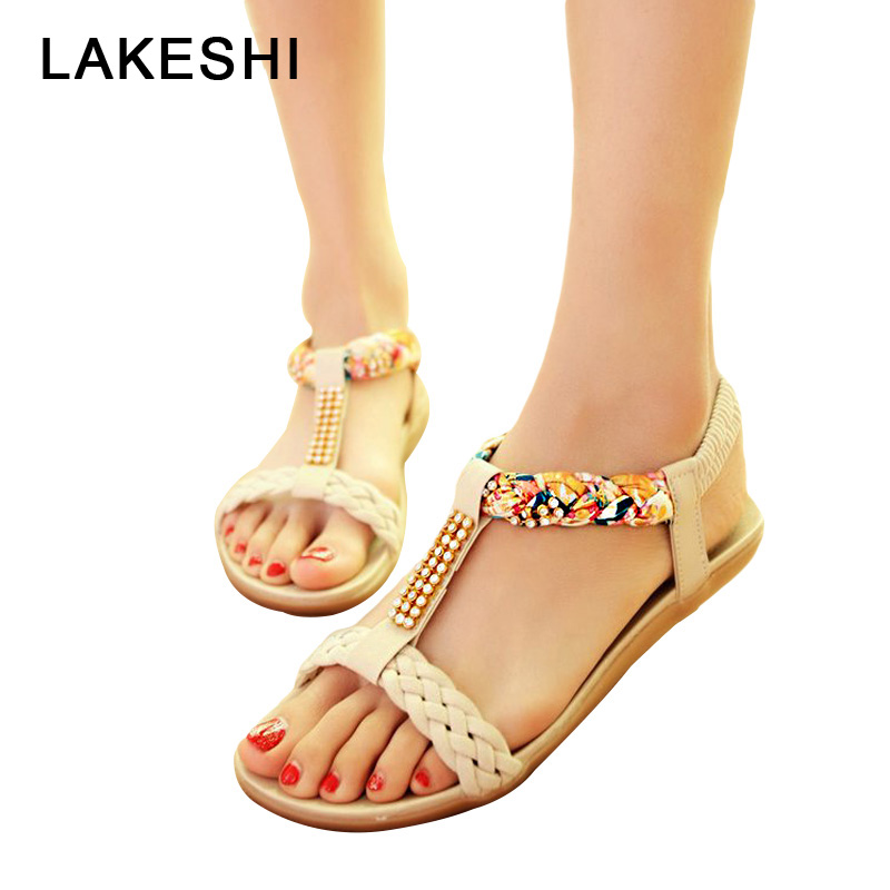 LAKESHI Bohemian New 2018 Women Sandals Summer Flat Shoes Woman Flip Flops Beach Sandals Rhinestone Female Shoes Large Size 41 2018 new bohemian women sandals crystal flat heel slipper rhinestone chain women casual beach shoes size 34 44
