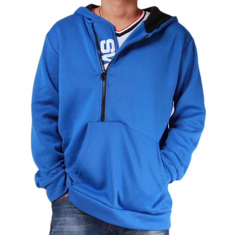 Мужские футбольные майки на молнии с буквенным принтом, мужская верхняя одежда на осень и зиму, мужская спортивная одежда, толстовки для фитнеса, верхняя одежда 4XL - Цвет: Blue