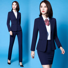 Office Ladies Work Suits Long Sleeve Tuxedo Jacket with Pant Black Blue Pant