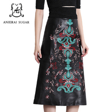Autumn and winter women genuine sheepskin leather long skirt slim black colour Embroidery flower Ethnic style Package hip skirt