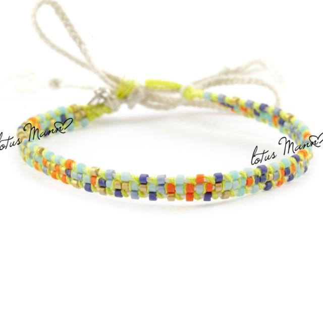 Lotus mann neon yellow cotton multi-colored beads bracelet seed beads