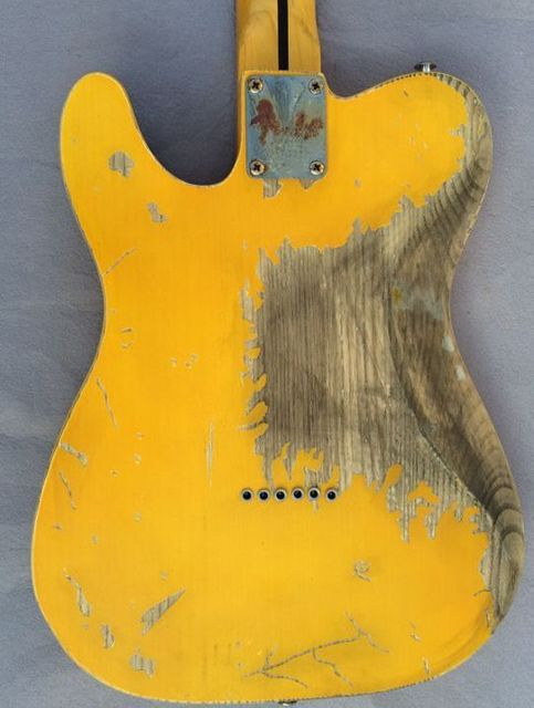 FD 1951  Relic handmade electric guitar  ash body yellow color humbucker neck pickups vintage pickups - Free shipping   2