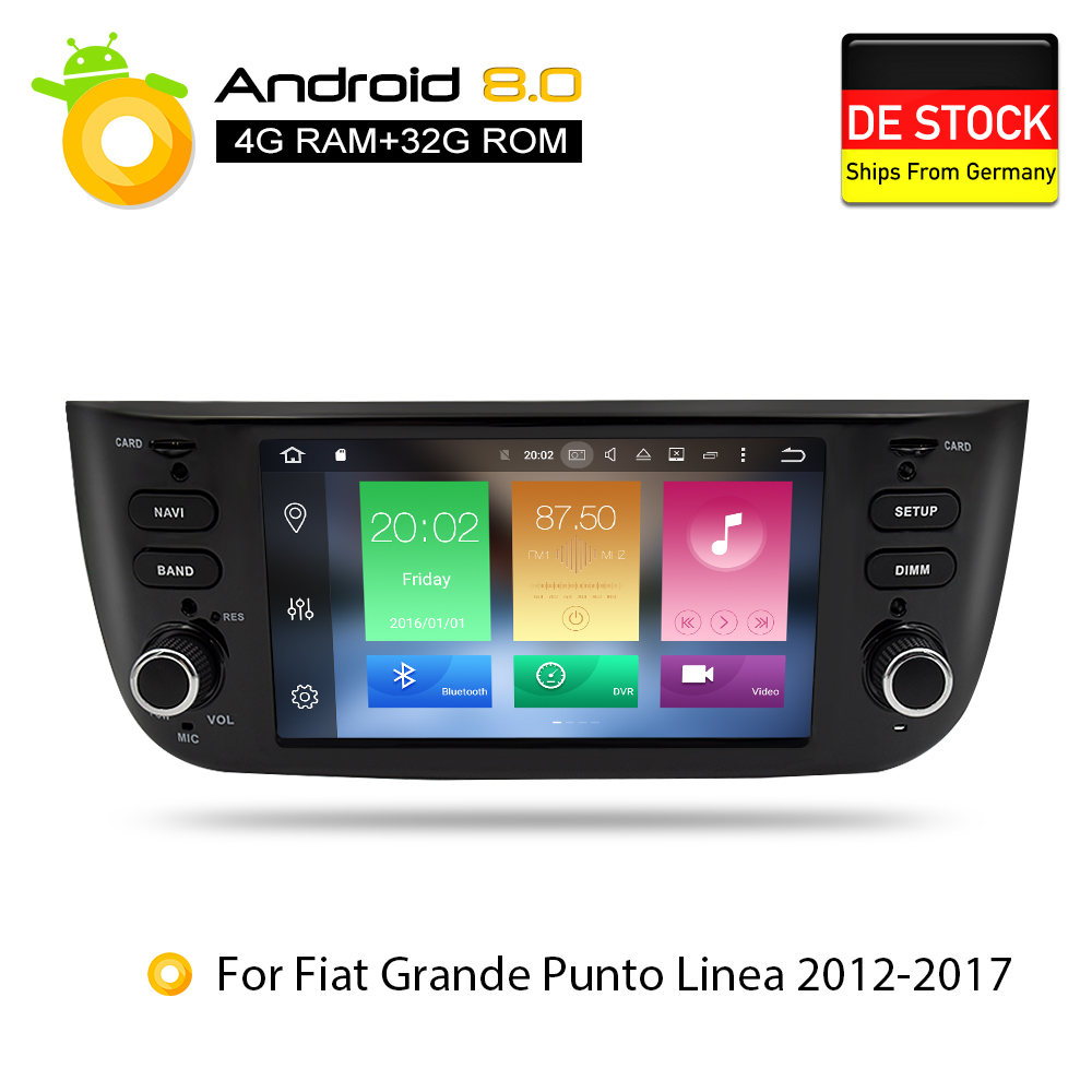 Android 8.0 Car Stereo DVD Player GPS Glonass Multimedia for Fiat Grande Punto Linea 2012 2013 2014 2015 Audio RDS Radio Stereo