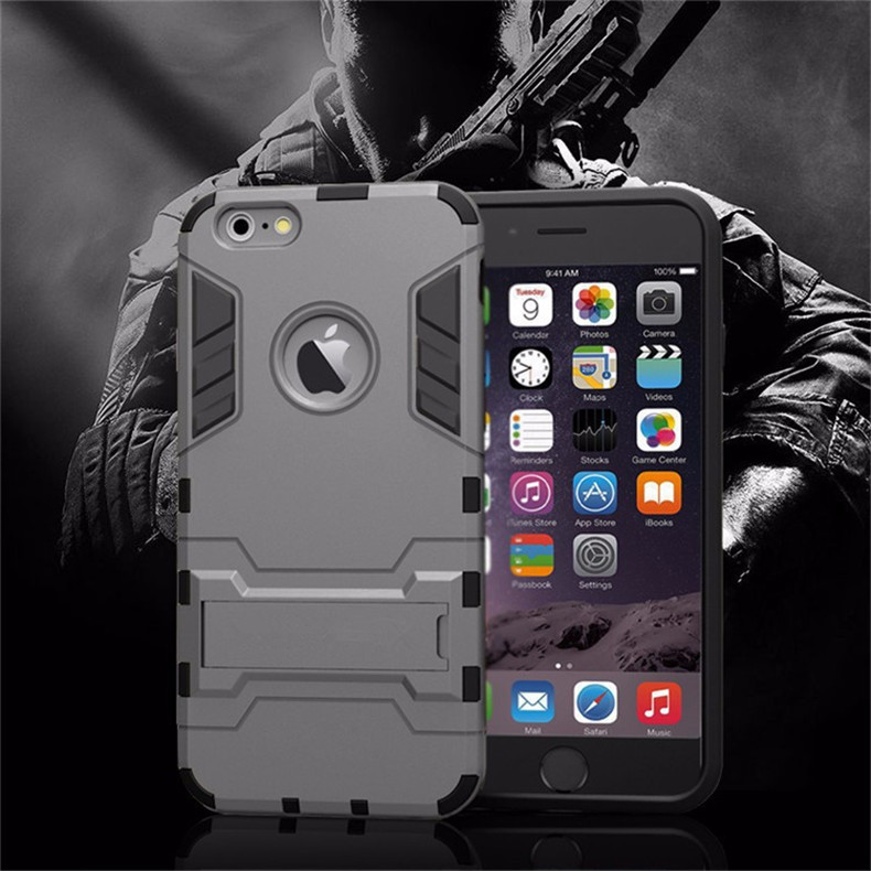 Luxury Stand Armor Phone Holder Case For iPhone 7 8 6 6S Plus X S XS Hybrid TPU+Hard PC ShockProof Back Cover for iphone 5 5S SE