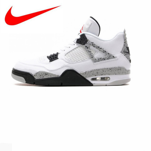 size 40 bda53 9c5c7 Original Nike Air Jordan 4 Boys Basketball Shoes Jordan 4 White Cement,  Original Men s Sports Shoes 840606 192