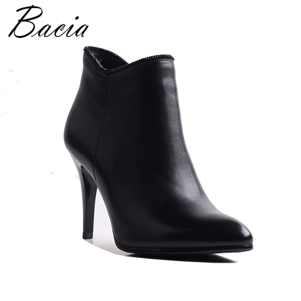 Bacia Sexy Women Boots Genuine Leather Winter High Heels Ankle Boots Shoes Women Fall Ladies Short Boots NEW Zip Big Size MWB007 warm winter fur leather women ankle boots high heels sexy comfortable shoes ladies short boots cutout shoes big size