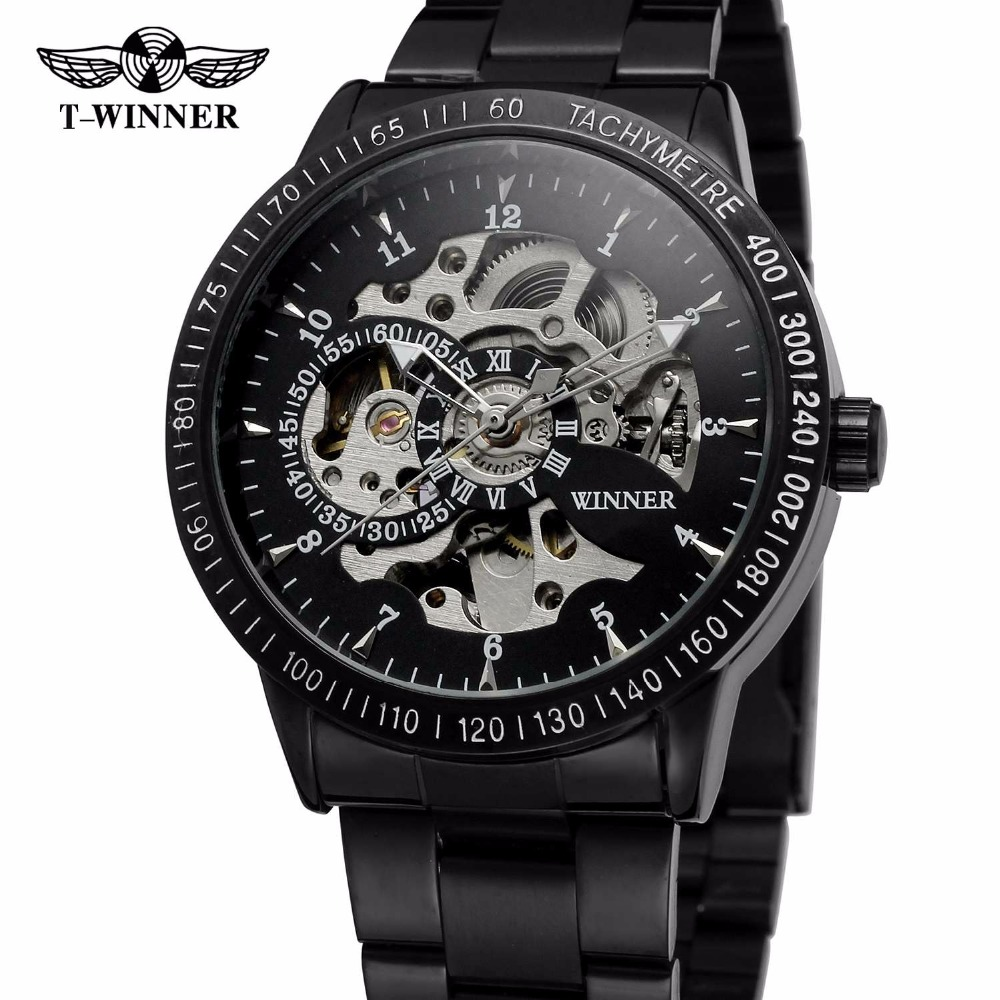 WINNER Casual Sport Black Men Mechanical Auto Watch Stainless Steel Strap Skeleton Dial Blue Mirror Cool Style Male Wristwatch 2017 black rose gold winner men watch cool mechanical automatic wristwatch stainless steel band male clock skeleton roman dial