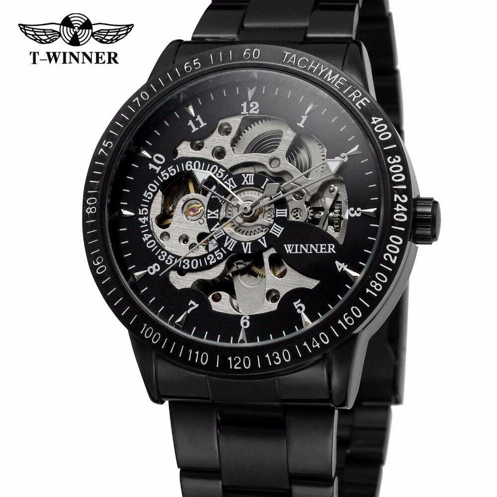 WINNER Casual Sport Black Men Mechanical Auto Watch Stainless Steel Strap Skeleton Dial Blue Mirror Cool Style Male Wristwatch